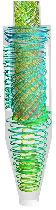 KMCE Multicyclone showing CFD Trails